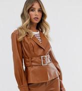 Skylar Rose belted blazer jacket in faux leather
