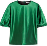 Rosetta Getty Knotted Stretch-satin Blouse - Dark green