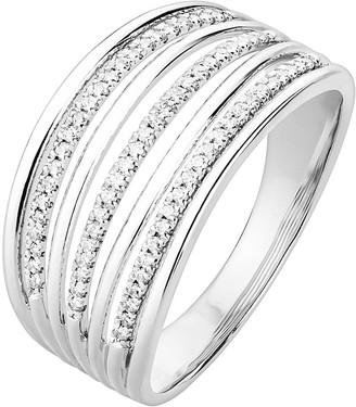 Love Diamond Sterling Silver 20pt Diamond Multirow Ring