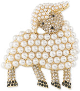 Carolee Gold-Tone Pavé & Imitation Pearl Lamb Pin