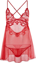 FLORAL VIBES Embroidered tulle babydoll with briefs
