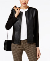 Alfani Faux-Leather Mixed-Media Jacket, Only at Macy's
