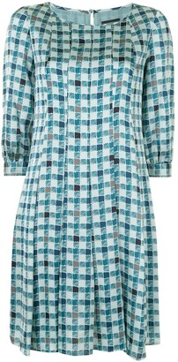 Emporio Armani Check-Print Flared Dress