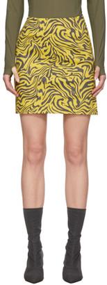 Miaou Yellow and Brown Zebra Miniskirt
