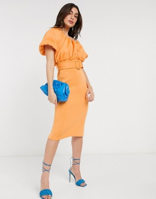 ASOS DESIGN one shoulder bubble neckline belted midi dress in apricot