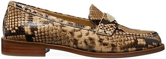 MICHAEL Michael Kors Finley Snakeskin-Embossed Leather Loafers