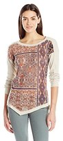 Democracy Women's Long Sleeve Top with Patchwork Screen Printed Front Panel