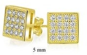 Bling Jewelry Square Micro Pave CZ Stud Earrings Gold Plated Sterling Silver