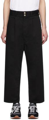 Comme des Garcons Homme Black Cotton Drill Garment-Dyed Trousers