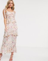 Dark Pink tiered midaxi dress with tie shoulder detail in blush floral print