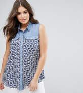 Koko Denim Contrast Tile Print Shirt