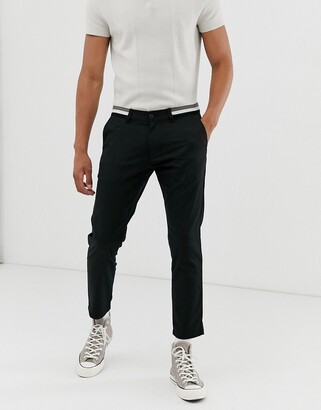 Esprit cropped chino with elastic waist-Black