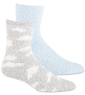 Jenni Women's 2-Pk. Clouds & Solid Super Soft Cozy Socks, Created for Macy's