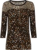 Biba Leopard sheer stripe jumper