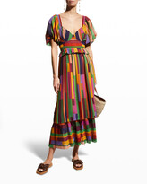 Thumbnail for your product : Farm Rio Painted Stripes Blouson-Sleeve Pleated Dress