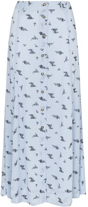 Ganni Floral Print Midi Skirt