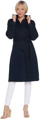 Halston H by Denim Zip Front Trench Coat with Belt