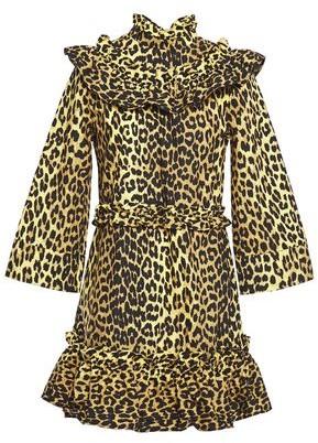 Ganni Minion Ruffled Leopard-print Cotton-poplin Mini Dress
