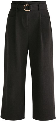 Paisie Jersey Wide Leg Trousers With Front Pleats & O-Ring Belt In Black