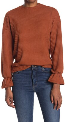 Velvet Torch Waffle Knit Bell Cuff Sweater