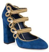 Dolce & Gabbana 3-Strap Military Suede Block-Heel Pumps