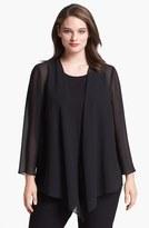 Alex Evenings Plus Size Women's Georgette Open Jacket