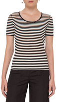 Akris Punto Striped Perforated Short-Sleeve Tee, Cream/Black