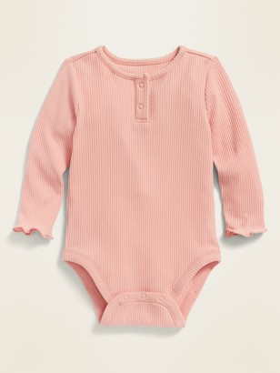 Old Navy Unisex Solid Long-Sleeve Rib-Knit Henley Bodysuit for Baby
