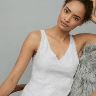 The White Company Cotton Lace-Trim Sleeveless Vest, Cloud Marl, Extra Small