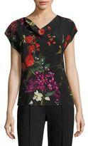 Escada Nossert Floral-Print Silk Cowlneck Blouse