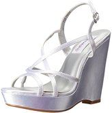 Dyeables Dyeables, Inc Women's Dee Wedge Sandal, Silver, 6.5 M US