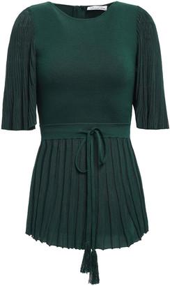 Oscar de la Renta Plisse-paneled Silk And Cotton-blend Peplum Top