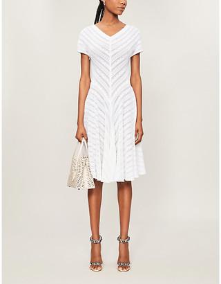 Azzedine Alaia V-neck knitted midi dress