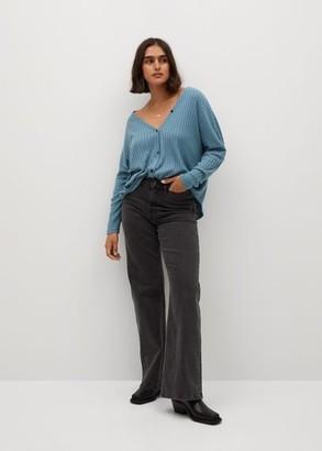 MANGO Violeta BY Fine-knit cardigan blue - S - Plus sizes