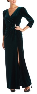 R & M Richards Embellished-Trim Side-Ruched Velvet Gown