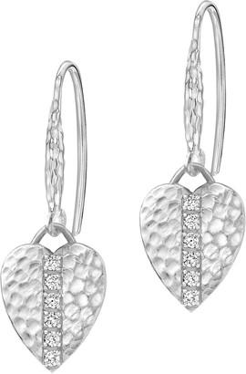 Dower & Hall Lumiere Sterling Silver Heart Sapphire Drop Earrings
