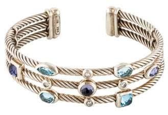 David Yurman Topaz, Iolite & Diamond Three Row Confetti Bracelet