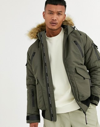 Good For Nothing bomber jacket in olive with faux fur hood