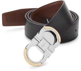 Salvatore Ferragamo Gancini Reversible Black/Tan Leather Belt