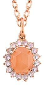 Irene Neuwirth Oval Rose Cut Peach Moonstone and Rose de France Charm - Yellow Gold