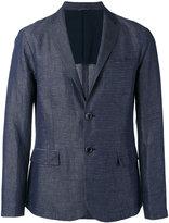 Emporio Armani striped chambray blazer - men - Cotton/Linen/Flax/Polyester - L