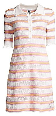 M Missoni Women's Zig-Zag Knit Striped Polo Dress