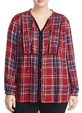 Seven7 Jeans Plus Pintucked Plaid Peasant Top