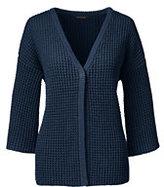 Lands' End Women's Petite 3/4 Lofty V-neck Cardigan Sweater-Black