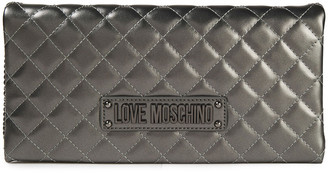 Love Moschino Quilted Faux Glossed-leather Clutch