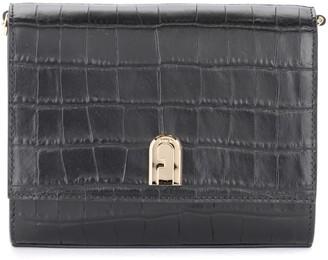 Furla 1972 Mini Shoulder Bag In Black Crocus Print Leather
