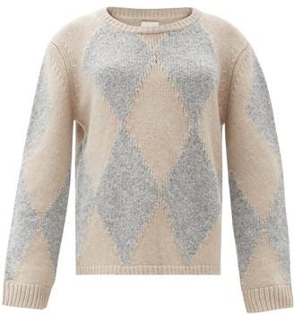 KHAITE Daisy Diamond-intarsia Cashmere-blend Sweater - Grey Multi