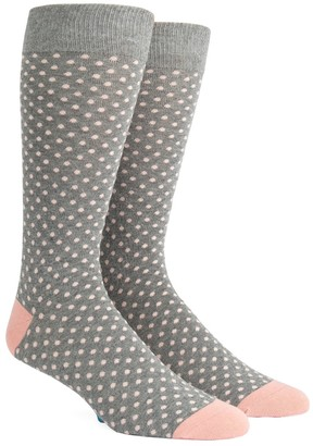 Tie Bar Pindot Soft Grey Dress Socks