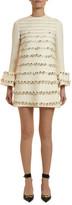 Valentino Floral Beaded Bell-Cuff Mini Dress