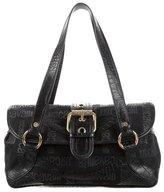 Just Cavalli Embossed Leather-Trimmed Shoulder Bag